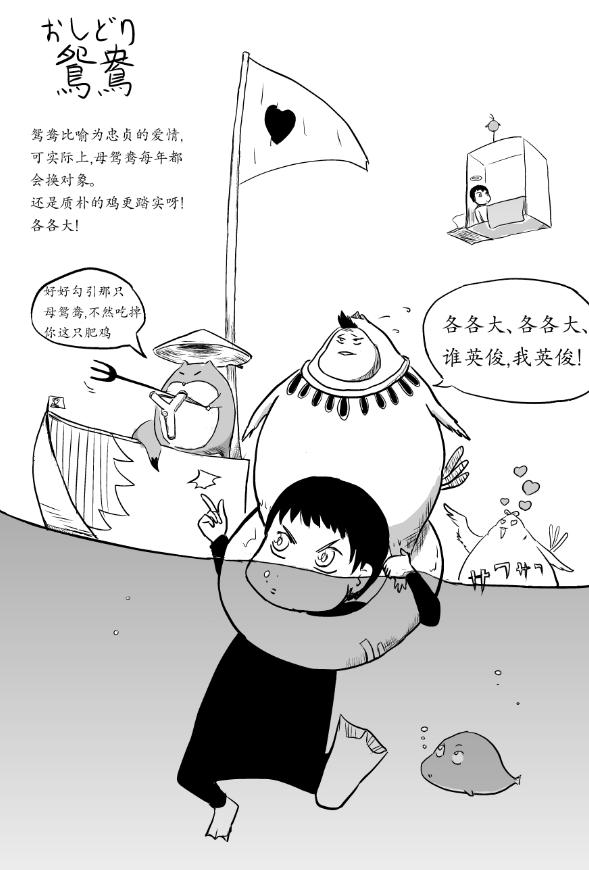 漫画日语《猪摸摸の倾国日语词绘》_020:鴛鴦(おしどり)