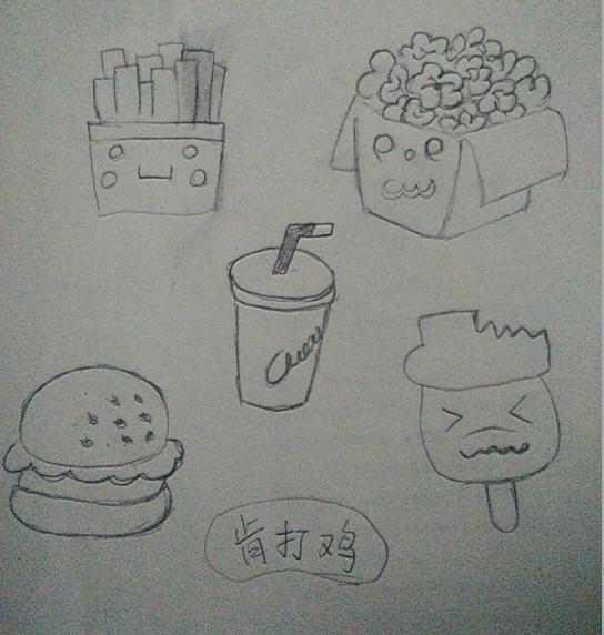 睡倒的可乐罐结构素描