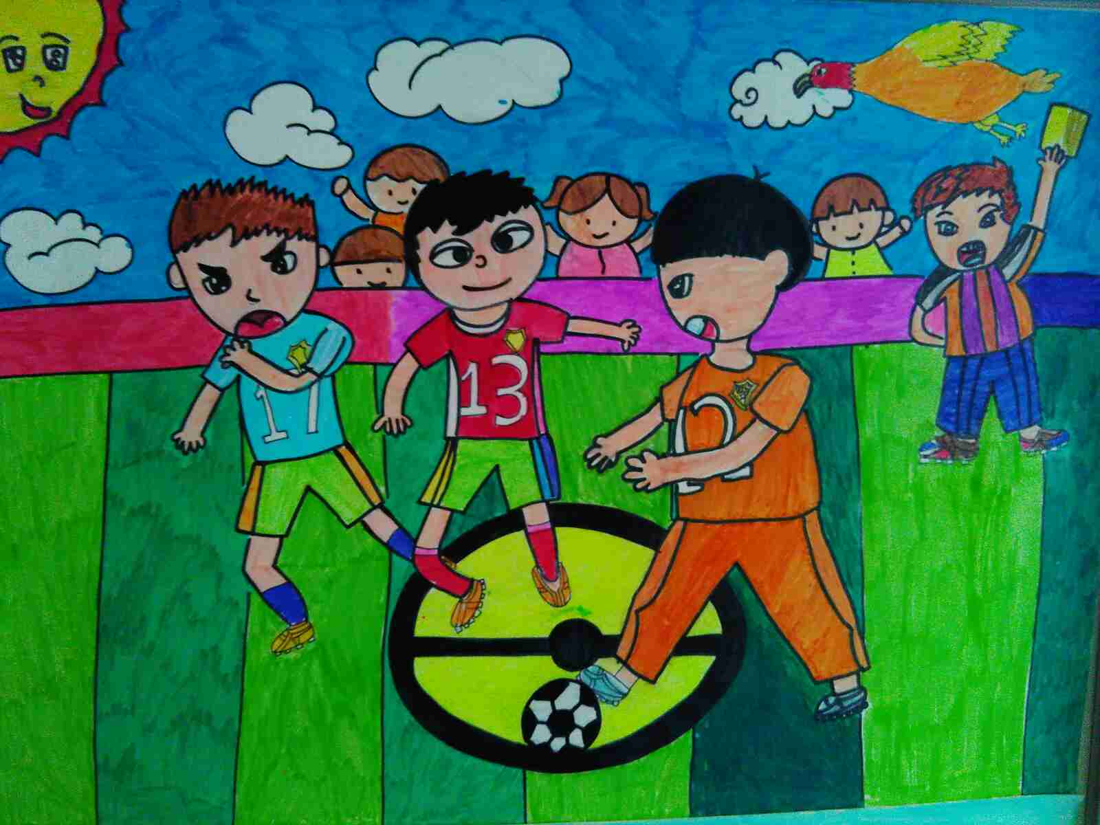 足球 进我校 儿童画 作品 青岛铜川路小学 学习图片