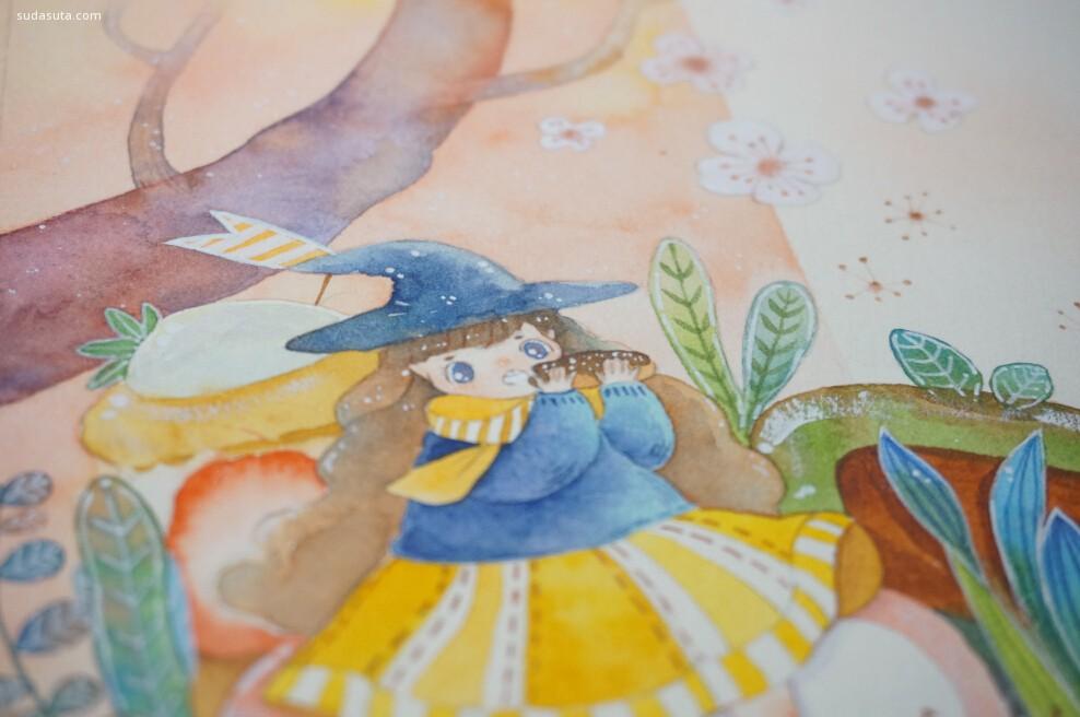 新可爱的手绘水彩插画