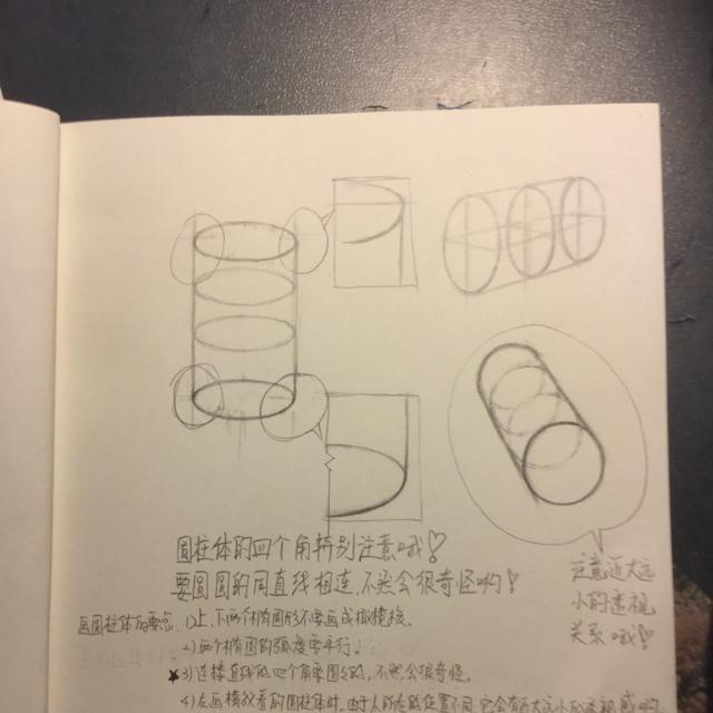 【绘画教程】原创:基础课-圆柱体的结构图
