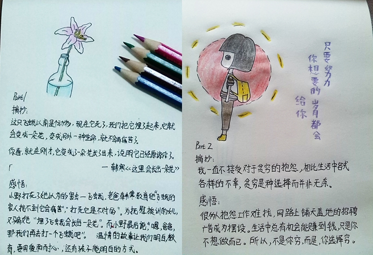 """这本画风天真烂漫的插画式笔记来自沪江社团""""读书"""