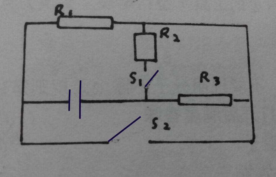 请画出当开关s1和s2闭合时的等效电路图