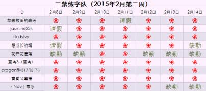 【懒虫2月小队】 二紫练字队
