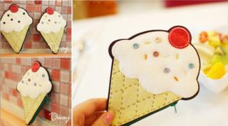 「手工课」の第九十四课:DIY不织布冰淇淋零钱包手工教程