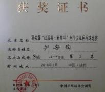 柳新中学乒乓球运动员参加全国少儿比赛荣获佳绩