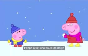 【看动画,学法语】第1期 - 粉红猪小妹-La neige (配法语字幕)