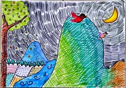 """【20160319大语文学员直播】 """"田园诗派VS边塞诗派""""课后作业——手绘诗风"""